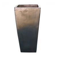 Pot gris charcoal en terre cuite céramiqué 10 x 10 x 20''
