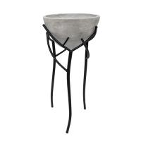 Pot gris en fibre de verre, piédestal en métal, 26 x 11 x 11