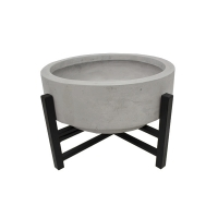 Grey fiberglass standing planter with metal base, 10''