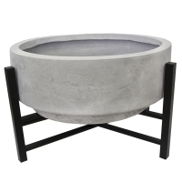 Grey fiberglass standing planter with metal base, 14''