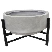 Pot gris en fibre de verre, support en métal, 14''