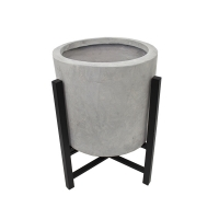 Grey fiberglass floor planter with metal stand, 16,5''
