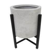 Grey fiberglass standing planter with metal base, 20,5''