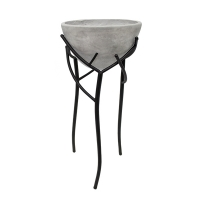 Grey fiberglass standing flower pot with metal base, 26''
