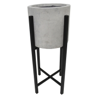 Grey fiberglass floor planter with metal stand, 28''