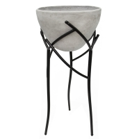 Grey fiberglass standing flower pot with metal base, 33''