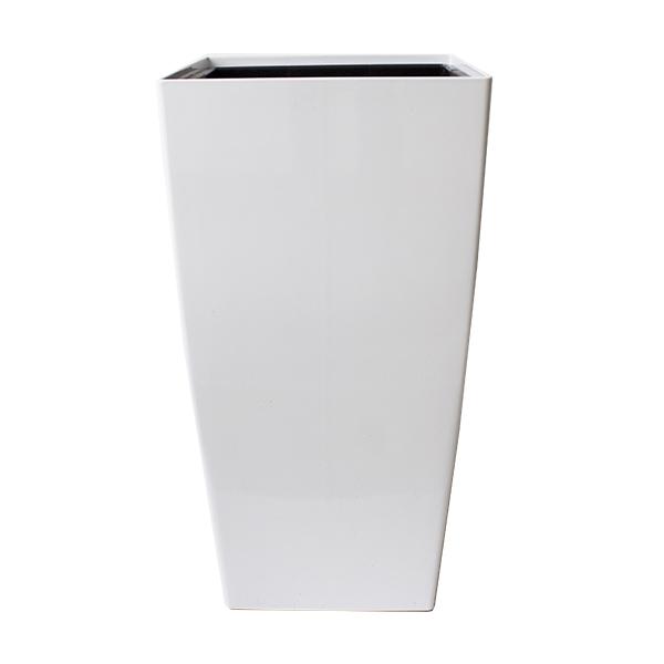Pot haut carr en plastique blanc int ext 16 x 16 x 30 - Pot exterieur haut ...