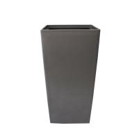 Pot haut carré en plastique gris int./ext. 11 x 11 x 21''