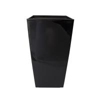 Pot haut carré en plastique noir, int./ext. 11 x 11 x 21''
