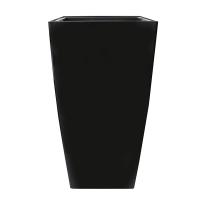 Pot haut carré en plastique noir int./ext. 16 x 16 x 30''