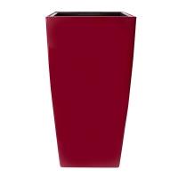 Pot haut carré en plastique rouge int./ext. 16 x 16 x 30''