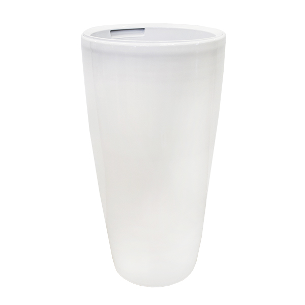 Round White Plastic Planter Intext 155 X 155 X 31 Dcors