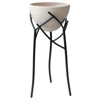 Ivory fiberglass standing flower pot with metal base, 33''