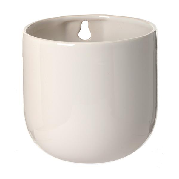 Pot mural en c ramique blanche 5 x 4 75 x 4 75 39 39 d cors for Pot ceramique exterieur