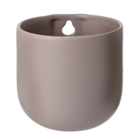 Taupe ceramic wall planter 5 x 4,75 x 4,75''