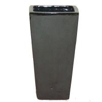 Pot noir en terre cuite céramiqué 10 x 10 x 20''