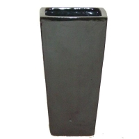 Black terracotta ceramic pot 20 x 10 x 10''