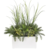 White rectangulaire planter with grass