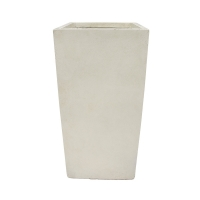 Pot rectangulaire en fibre de verre blanc sable 11 x 11 x 24