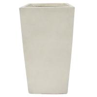 Pot rectangulaire en fibre de verre blanc sable 16 x 16 x 31