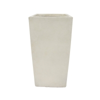 Pot rectangulaire en fibre de verre blanc sable 9 x 9 x 20''