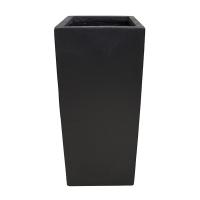 Black rectangular fiberglass planter 13 x 13 x 27,5''