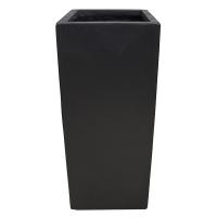 Pot rectangulaire en fibre de verre noir 16 x 16 x 31,5''