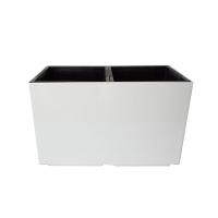 Pot rectangulaire en plastique blanc, int./ext. 22 x 11 x 13
