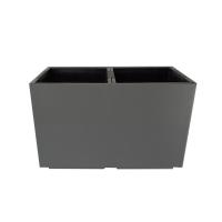 Pot rectangulaire en plastique gris, int./ext. 22 x 11 x 13'