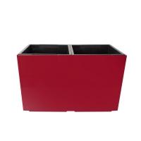 Pot rectangulaire en plastique rouge, int./ext. 22 x 11 x 13