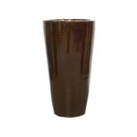Pot rond brun en terre cuite céramiqué 12x12x22''