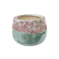 Pot rond en céramique aqua 2 tons 8,5 x 8,5 x 5,5''