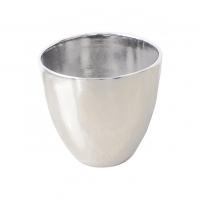 Pot rond en céramique argent 10 x 10 x 11''