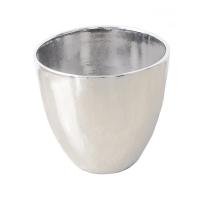 Pot rond en céramique argent 12 x 12 x 12''