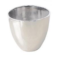 Pot rond en céramique argent 15 x 15 x 13''