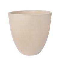 Pot rond en céramique beige 12 x 12 x 12''