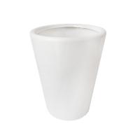 Pot rond en céramique blanc lustré10 x 10 x 12,6''