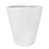 Pot rond en céramique blanc lustré15 x 15 x 16,5''