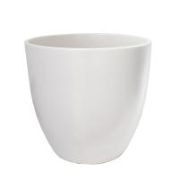 Pot rond en céramique blanc mat 15 x 15 x 13''
