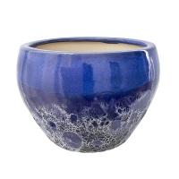 Pot rond en céramique bleu 2 tons 12 x12 x 8''