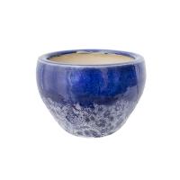 Pot rond en céramique bleu 2 tons 6,5 x 6,5 x 4,5''