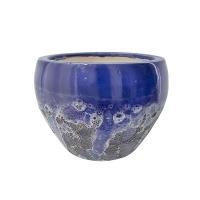 Pot rond en céramique bleu 2 tons 8,5 x 8,5 x 6,5''