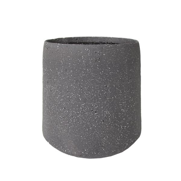 Pot rond en c ramique grise fonc e 7 d cors v ronneau for Pot ceramique exterieur