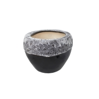 Pot rond en céramique noir et blanc 4,5 x 4,5 x 3''