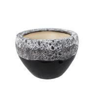 Pot rond en céramique noir et blanc 6,5 x 6,5 x 4,5''