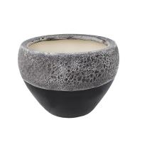 Pot rond en céramique noir et blanc 8,5 x 8,5 x 6,5''
