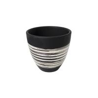 Cache-pot en céramique noire et blanche, 4''