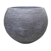 Round Charcoal Textured Fiberglass Pot, 19 x 24,5 x 24,5''