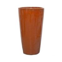 Pot rond orange en terre cuite céramiqué 12x12x22''