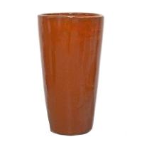 Round orange ceramic planter 16x16x30''